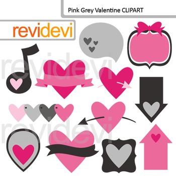 Pink Grey Valentine Clipart