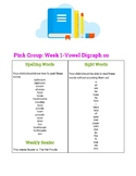 Spelling and Sight Word List to accompany Pink Primary Pho