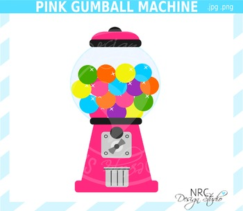Pink Gumball Machine Clip Art - Commercial Use Clipart