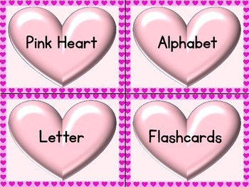 Pink Heart Alphabet Letter Flashcards Uppercase and Lowercase