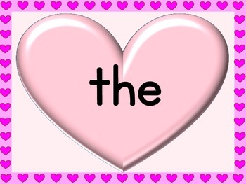 Pink Heart Dolch Pre-Primer Sight Word Posters and Flashcards