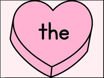 Pink Conversation Heart Fry List 1 1st 100 Sight Word Posters & Flashcards