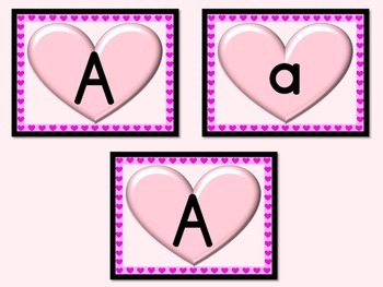Pink Heart Full Page Alphabet Letter Posters Uppercase and Lowercase