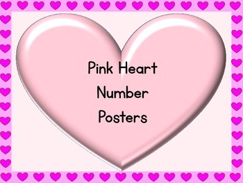 Pink Heart Full Page Number Posters 0-100