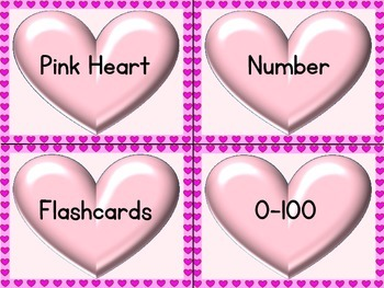 Pink Heart Number Flashcards 0-100