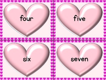 Pink Heart Number Word Flashcards Zero To One Hundred