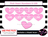 Pink Heart Numbers 0-100 Clipart