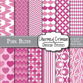 Pink Heart Valentine Digital Paper 1012