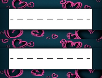Valentine's Day Pink Hearts Desk Name Tag Plates Set