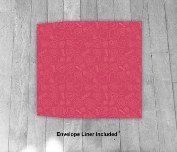 Pink Hearts Envelope - Printable A7 Envelope Template - Includes Liner