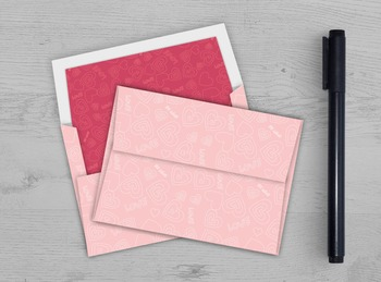 Pink Hearts Envelope - Printable A7 Envelope Template - In