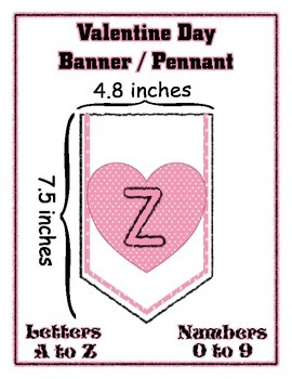Pink Hearts Valentine Day Banner Chevron Bundle Letters and Numbers -any message