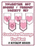 Pink Hearts Valentine Day Banner Chevron Bundle Letters an