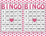 Pink Hearts Valentine's Day Bingo - 100 Printable Bingo Ca