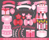 Pink and Red Birthday Clip Art - 36 Party Illustrations, Hearts, Bows, Daisy