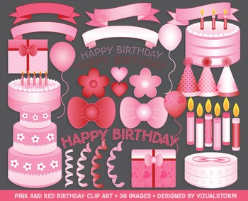 Pink and Red Birthday Clip Art - 36 Party Illustrations, H