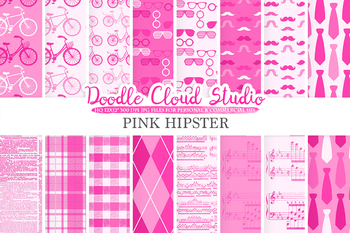 Pink Hipster digital paper, Vintage Retro patterns, Father's day, ties