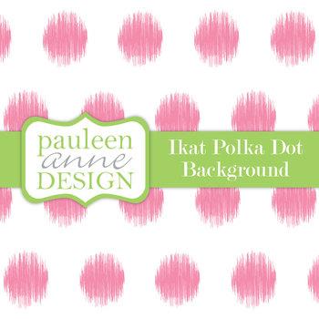 Pink Ikat Polka Dot Background