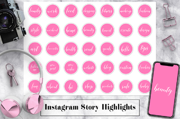 Pink Instagram Story Highlight Templates, Instagram Story Highlight Icons