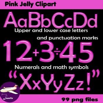 Alphabet Clip Art Pink Jelly + Numerals, Maths Symbols & P