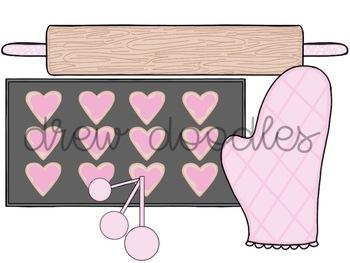 Pink Kitchen Utensils Digital Clip Art Set