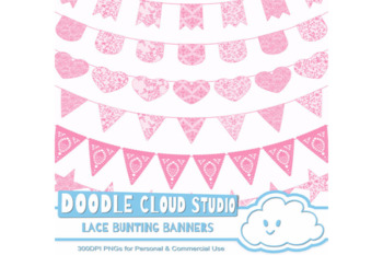 Pink Lace Burlap Bunting Banners Cliparts, multiple lace texture flags