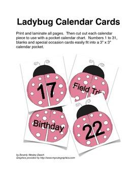 Pink Ladybug Calendar Cards