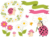 Pink Ladybug Clipart - Digital Vector Ladybird,  Ladybug Clip Art