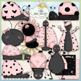 Pink Ladybugs Clip Art - Bugs Clip Art - Spring Clip Art -