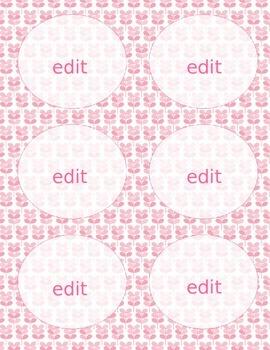 Pink Leaf Labels **Editable**