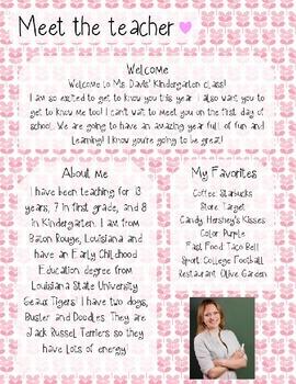 Pink Leaves Meet The Teacher Template **Editable**