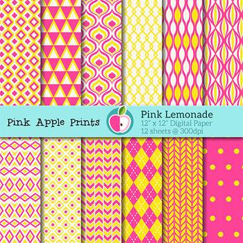 Pink Lemonade Style Digital Papers Set: Graphics for Teachers
