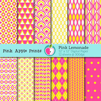 Pink Lemonade Style Digital Papers Set: Graphics for Teachers