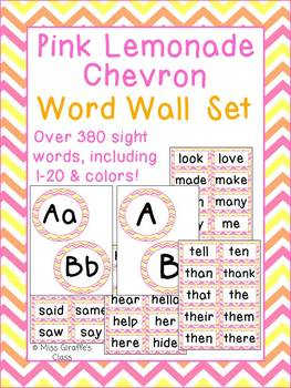Pink Lemonade Chevron Word Wall Letters Headers and Words