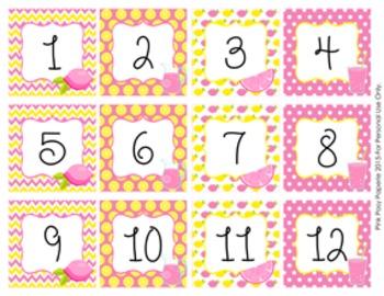 Pink Lemonade Classroom Decor Monthly Calendar Numbers