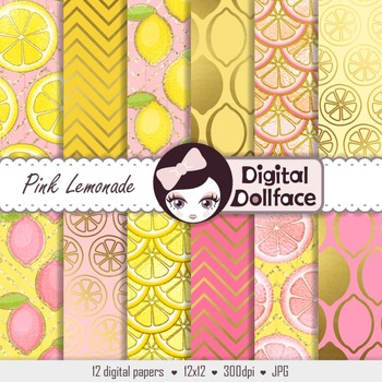 Pink Lemonade Digital Paper Lemon Scrapbook Paper By Digital Dollface