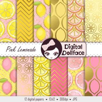 Pink Lemonade Digital Paper, Lemon Scrapbook Paper
