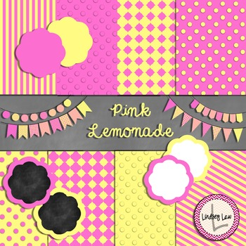 Pink Lemonade Digital Papers and More