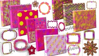 Pink Lemonade Frames and Digital Papers Mini Collection