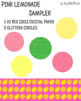 Pink Lemonade Paper and Glitter Shapes