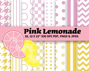 """Pink Lemonade Summer Patterns 300 DPI, 12 x 12"""" JPGs"""