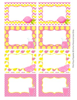 Pink Lemonade Theme Classroom Decor Bin Labels