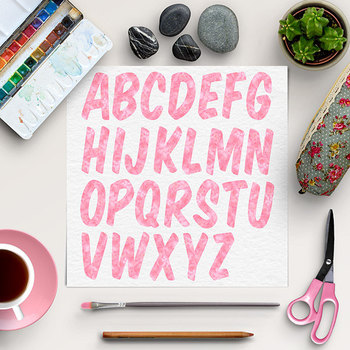 Pink Letters And Numbers Clipart
