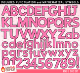 Pink Letters and Numbers Clip Art
