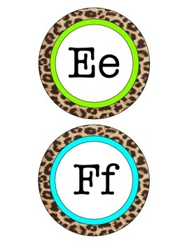 Pink, Lime, & Aqua Leopard Word Wall Letters