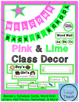 Pink & Lime Green Class Decor Pack