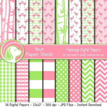 Pink & Lime Green Flamingo Themed Digital Scrapbooking Papers & Patterns