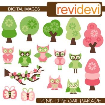 Pink Lime Owl clip art
