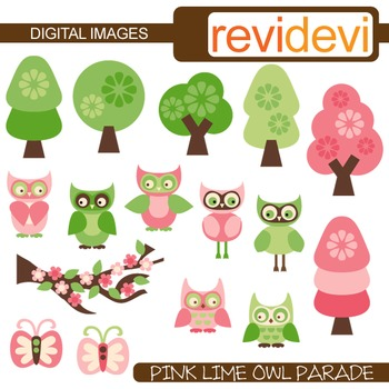 Pink Lime Owl clip art