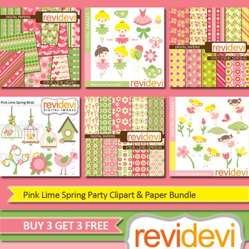 Pink Lime Spring Party Clip art (6 packs) ballerina, birds, fairies